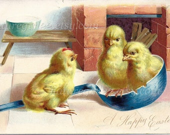 A Happy Easter Little Chicks Postcard, 1907 Raphael Tuck & Sons Postcard, Germany