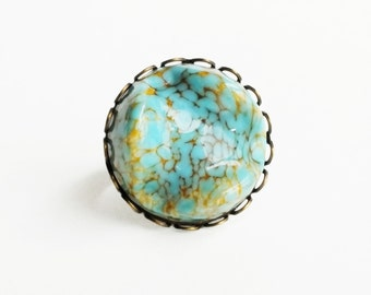 Turquoise Ring Large Vintage Glass Cabochon Eco-Friendly Turquoise Jewelry Chunky Turquoise Brass Ring