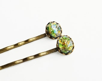Green Opal Hair Pins Vintage Iridescent Glass Bobby Pins Olive Green Hair Pins