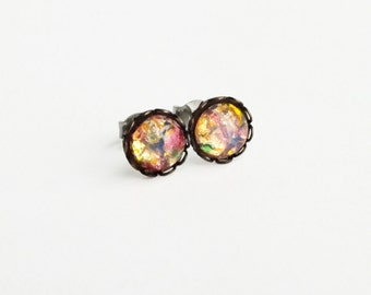 Tiny Glass Rainbow Opal Studs Multi Colored Glass Studs Vintage Harlequin Fire Opal Post Earrings Small Colorful Earrings Iridescent