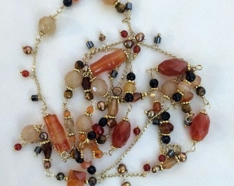 Carnelian Tiger Eye Long Necklace Handmade Wire Wrap 14kt Gold Filled Colorful Gemstone Layering Dangle Necklace