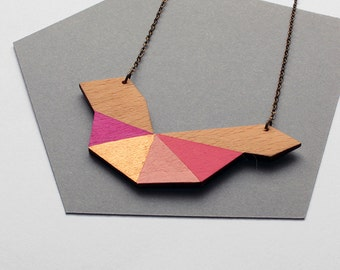 Geometric bird shape wooden necklace - pink, rose shades, gold, natural wood - minimalist, modern jewelry