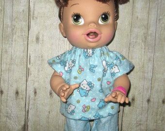 Corolle Tidoo, Corolle Calin Doll,  Baby Alive, Doll clothes  Hello Kitty Pajama  Fits 12 13  Inch Doll Clothes
