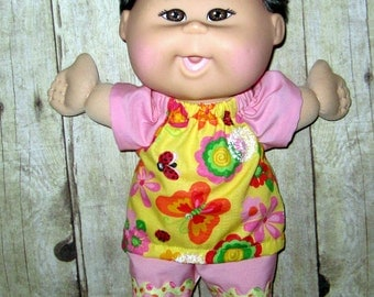 Cabbage Patch, Naptime,  Doll Clothes, Flower and Butterfly Top and Short,  12 13 inch Doll Clothes, Pinks and Yellows