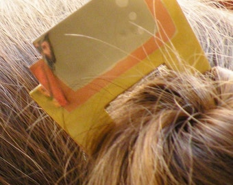 Marraige of Metals, Art Deco Style Metal Hair Piece, Hair Pin, Hair Jewelry