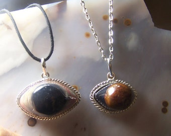 Agate Eye black brown necklace pendants - clearance sale - stone in silver bezel and bail - with chain or cord - cabochon oval cab KPN2
