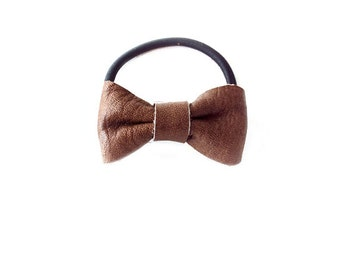 Ponytail Holder Elastic Hair Tie - Leather - Ash Brown - The Lifestyle: Mini Chubby Leather Bow