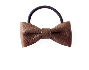 Ponytail Holder Elastic Hair Tie - Leather - Ash Brown - The Lifestyle: Medium Skinny Leather Bow