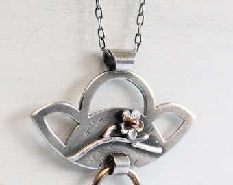 Cherry Blossom Pendant, Door Knocker, Sterling silver OOAK, Handmade by Hapa Girls, Metalsmithing, sakura pendant, Keepsake Pendant,