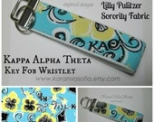 Lilly Pulitzer Sorority Fabric / Kappa Alpha Theta / Key Fob Wristlet / Preppy/ Big Little Gift / Stocking Stuffer/Chapter Gift