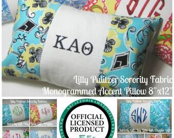 "Monogrammed Kappa Alpha Theta Pillow (Lilly Pulitzer Sorority Fabric) w/ INSERT 8""x12""/Sorority Gift/ Big/ Little Gift/Bid Day/Chapter Gift"
