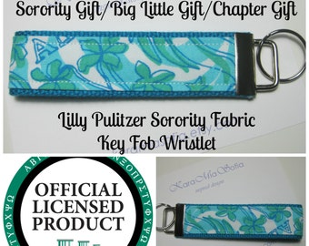 Lilly Pulitzer Sorority Fabric / Alpha Delta Pi / Key Fob Wristlet / Preppy/ Big Little Gift / Stocking Stuffer/Chapter Gift
