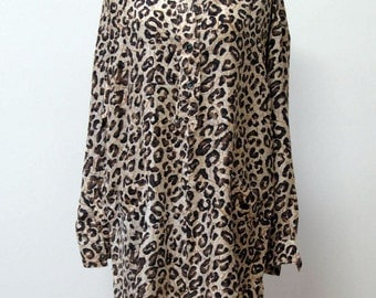 Limited Express leopard print silk shirt dress from the early 90s size L