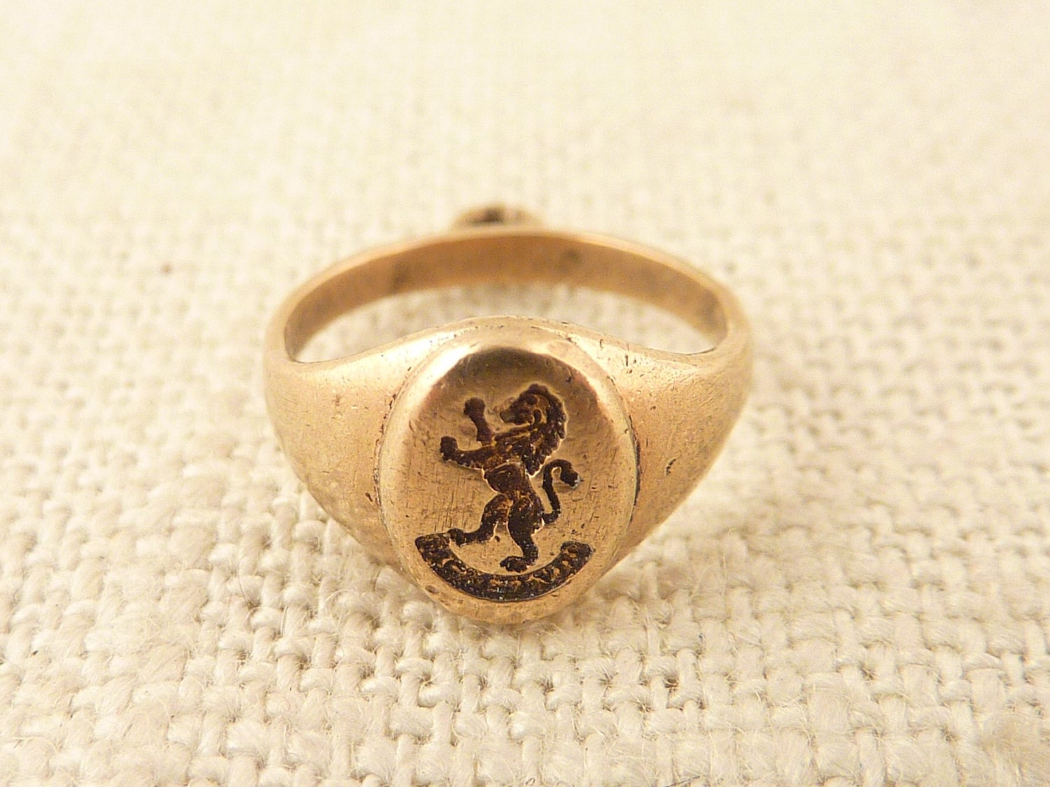 antique 10k gold class ring charm with engraved