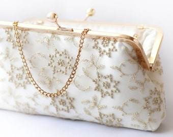 Metallic gold Embroidered Tulle Bridal Clutch in Ivory 8-inches | STAR FLOWER