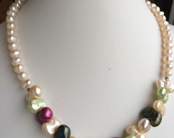 Necklace — Chunky, Funky and Colorful Freshwater Pearls