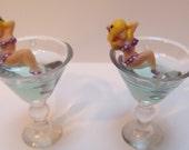 Tiny Martini Earrings w/ Burlesque Pin Up Girl Vixen in a Purple & White Polkadot Bikini Reclined inside the Glass
