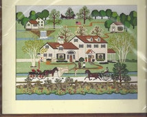 Vintage Farm Horse Wagon Crewel Embroidery Dimensions Crewel Kit #1266 Fox Hill Farm OOP Dates 1984 -DurhamDeals-