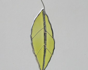 Green Chestnut Leaf - Upcycled Stained Glass Suncatcher