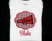 Custom Personalized Applique Cheer Georgia Bulldogs MEGAPHONE PATCH and NAME Shirt or Bodysuit - Or Choose Your Team Colors