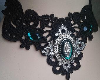 Black Gothic Choker - Lace Choker - Victorian Choker - Filigree Ornate Emerald Stone Antiqued style