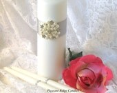 Pearl Unity Candle Set Brooch Unity Candle Ivory Unity Candle Romantic Wedding Candle Color & Ribbon Choice Candle Stand Optional