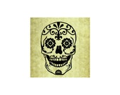 SUGAR SKULL RUBBER Stamp,Day of the Dead,Candy,Halloween,Party Favor,Halloween Decor, Cling Stamp from Mountainside Crafts (56-05)