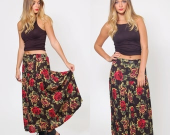 Vintage 90s FLORAL Maxi Skirt Pleated Black Skirt 90s REVIVAL Rayon Skirt Grunge Floral Hipster Skirt