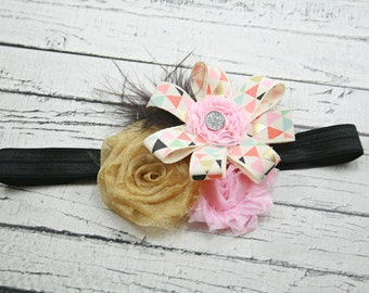 trendy black gold pink coral turquoise blue flower headband