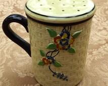 Majolica Hotta Yu Shoten Cherry Blossom Basket Weave  Large Sugar or Cinnamon Shaker 1940s Hand Painted