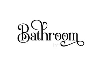Bathroom decal, restroom, vinyl letters, door decal, powder room decal, sticker for door, bath door label, bathroom door decal, wall decals