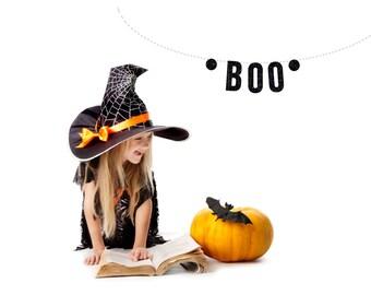 HALLOWEEN BOO Black Glitter Garland. Halloween Garland. Holloween Banner