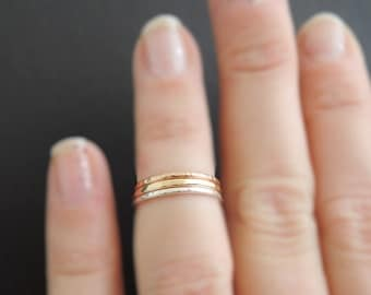 Midi Rings rose gold ring dainty mixed metal stacking rings gold ring and sterling silver ring above the knuckle rings
