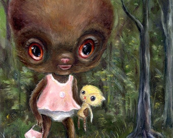Cute Monster, Baby Bigfoot Sasquatch Art print, Pop Surrealism, Lowbrow Big Eye Whimsical Art