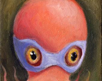 Octopus art print, Superhero art, ACEO Print, Lowbrow art, Pop Surrealism, Childrens Decor, Childrens Art, Cephalopod,  Matted Print
