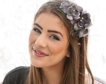 Gray Flower Headband, Headbands for Women and Weddings Wedding Hair Bridal Hair Accessory Wedding Accessories, Bridesmaid Hair Flower Crown