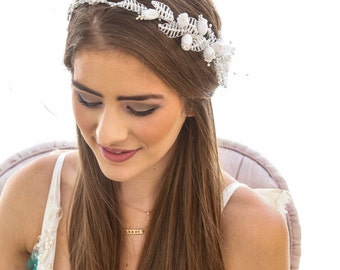SALE White Wedding Vintage Flower Crown with Pearls Leaves Wedding Headband Boho Wedding Headpiece in White made with Vintage supplies.