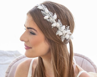 White Wedding Vintage Flower Crown with Pearls Leaves Wedding Headband Boho Wedding Headpiece in White made with Old Stock Vintage supplies.