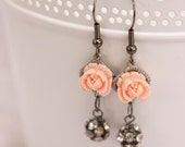 Handmade CORAL & RHINESTONE EARRINGS Boho Victorian Inspired