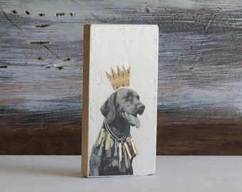 Royal Dog Original Encaustic Mixed Media Painting Vintage Dog Photo Black Lab Labrador Retriever King