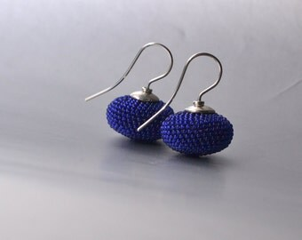 dangle earrings  ink blue glass beads and silver925