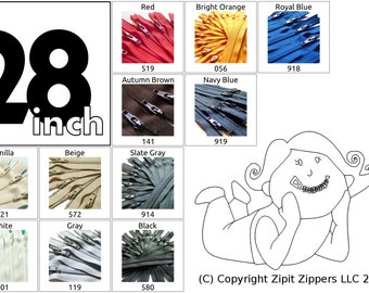 YKK Zippers Your choice of Colors 28 Inch Mix and Match Zips Qty 10
