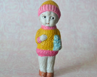 Vintage Bisque Frozen Charlotte Doll Girl in Sweater and Hat with Blue Cat Japan