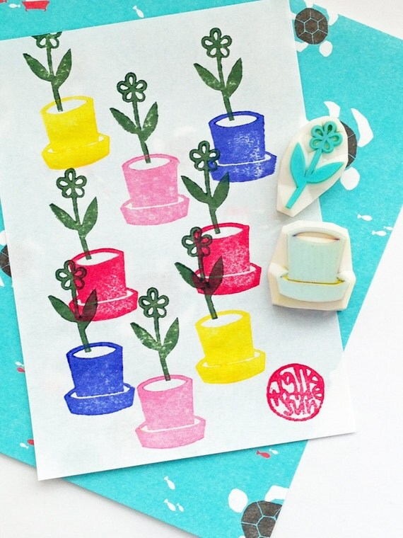 flower planter hand carved rubber stamps. flower pot stamp. gardening stamp. birthday card making. scrapbooking. gift wrapping. set of 2