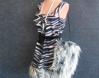 Vintage Costume Zebra Jungle Jane Cave Woman, Dress, Belt, Purse, Claw Necklace, Black + White Animal Print Shaggy Faux Fur, Bust 32