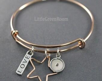 Bangle Bracelet Charm Bracelet Star Bracelet Star Bangle Rose Gold Plated Bracelet Love Bracelet Adjustable Bangle Bracelet Custom Initial