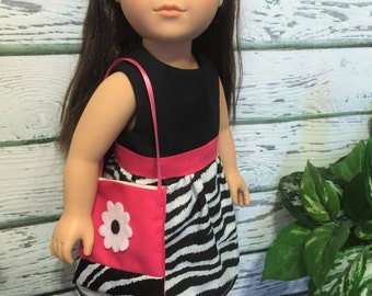 """18"""" Doll Clothes, Zebra and Pink Doll Dress and Purse, 18"""" Doll Dress, Ready to Ship, Handmade 18"""" Doll Clothes"""