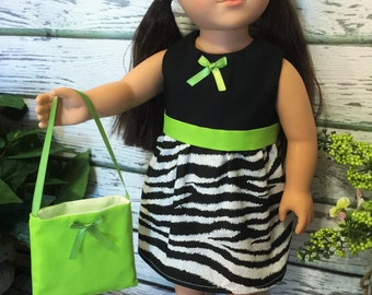 "18"" Girl Doll Clothes, Zebra and Lime Green Doll Dress and Purse, 18"" Doll Dress, Girl Birthday Gift, handmade 18"" doll clothes"