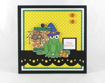 Happy halloween, kids halloween, childrens halloween, frog, candy, halloween card