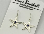 Starfish Earrings with Stone, Lrg. (Sapphire) Made to Order